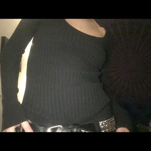 Tight black ribbed sweater top